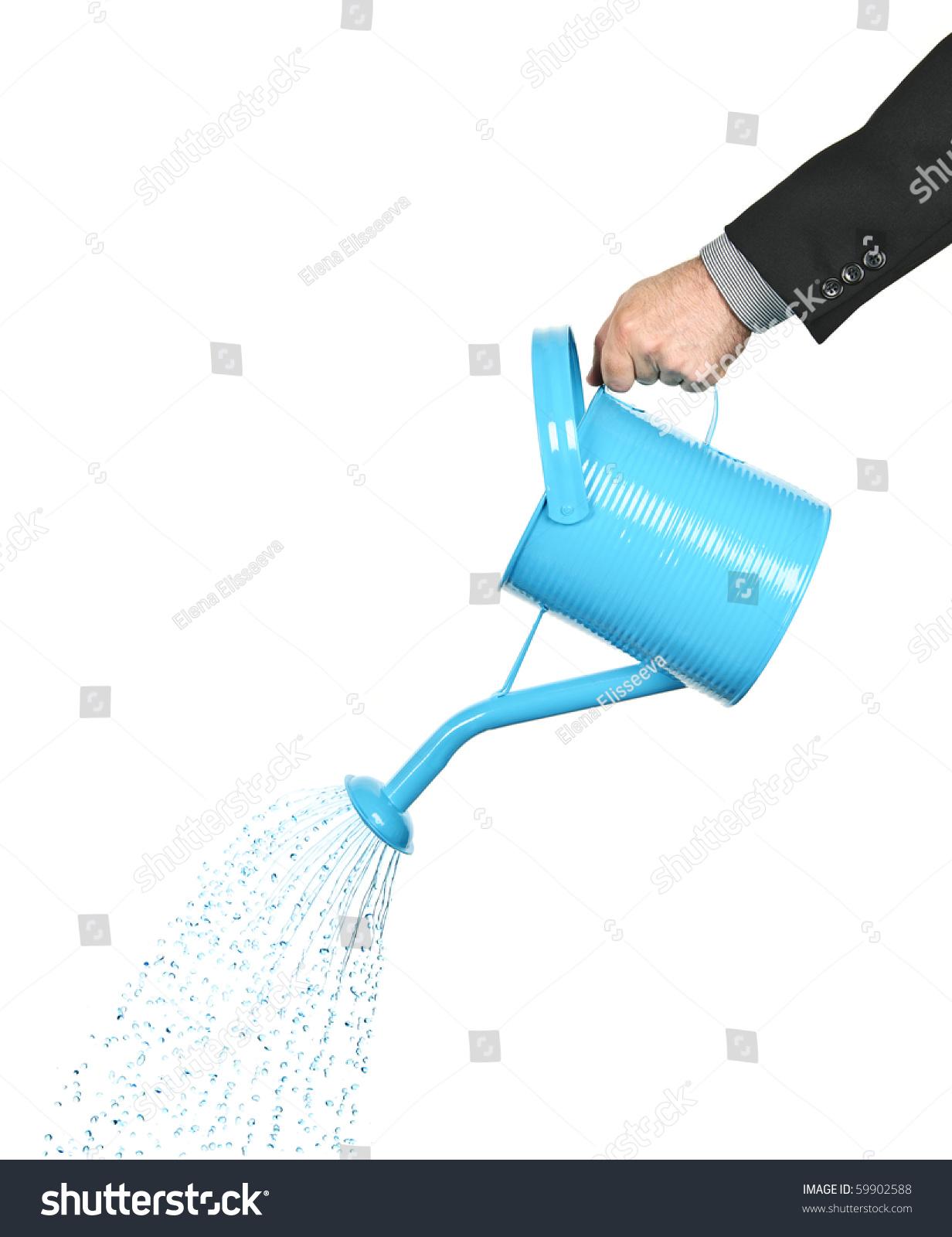 一个商人的手从喷壶里倒水-物体,交通运输-海洛创意()图片