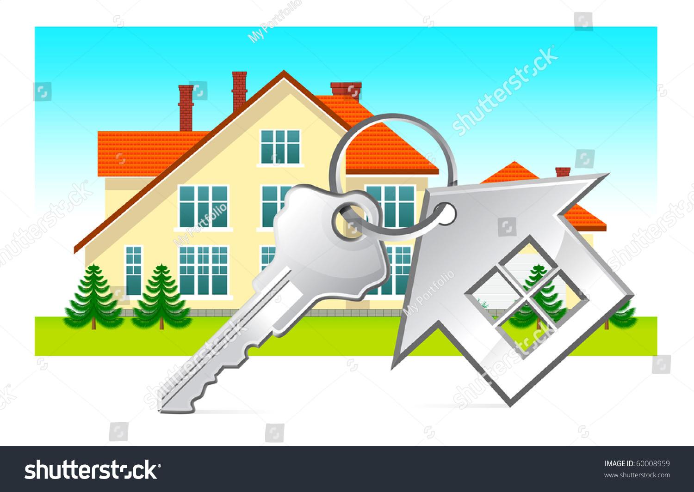房子和房子钥匙放在白色背景-插图/剪贴图