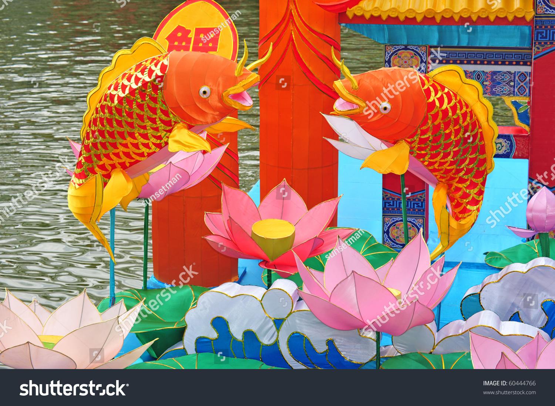 鲤鱼跃出灯笼中秋节期间展出-假期,物体-海洛创意()-.图片