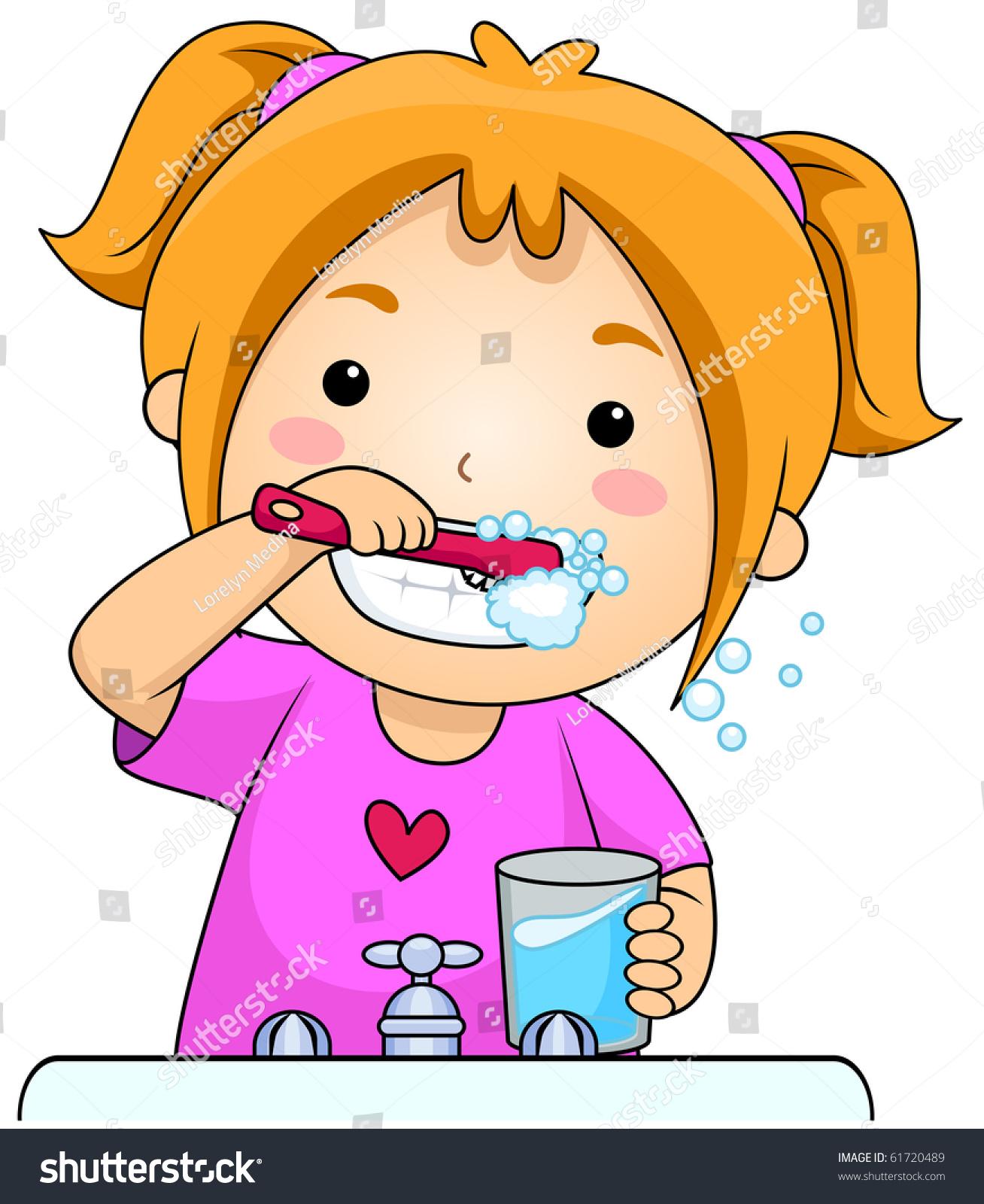 刷牙的海报卡通儿童画
