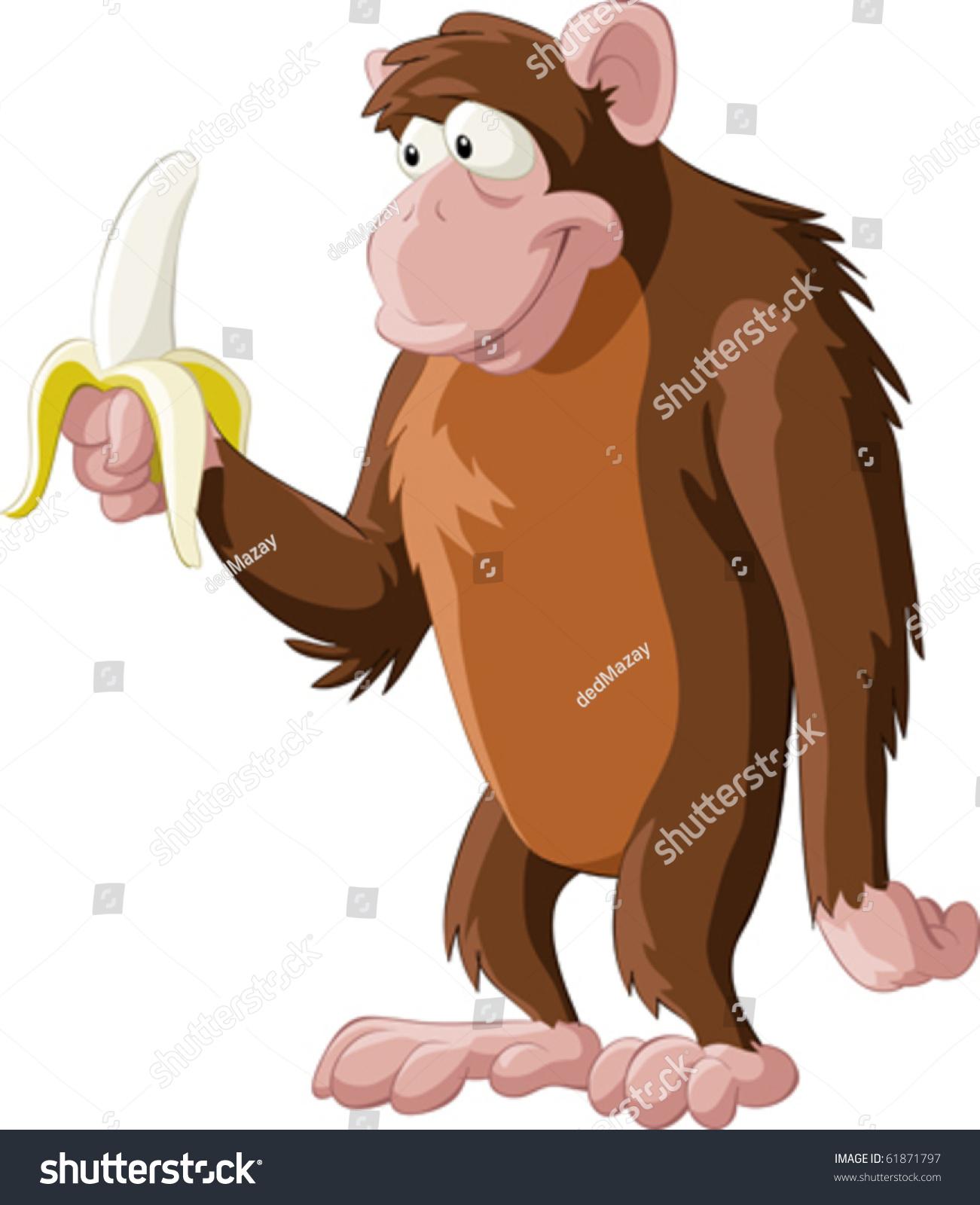 棕色猴子用香蕉,矢量插图-动物/野生生物