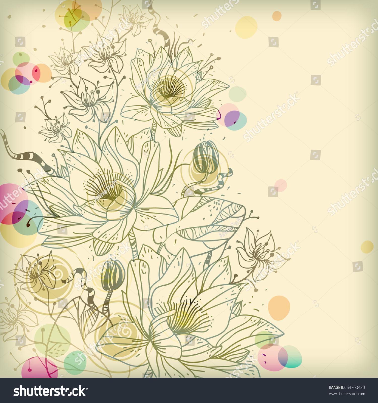 eps10背景与手绘睡莲