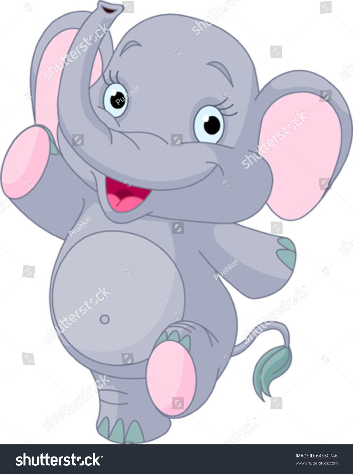 小宝贝非常可爱快乐的大象跳舞-动物/野生生物