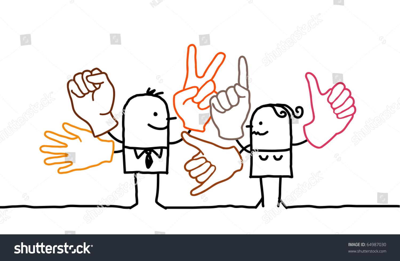 手绘卡通人物——手语-人物