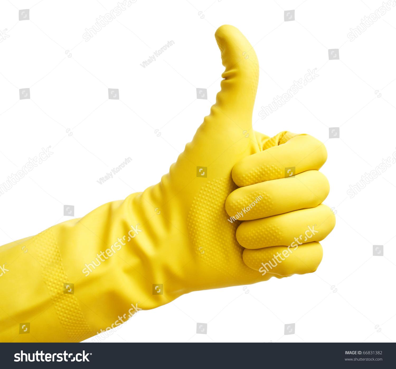 用黄色的塑料手套竖起大拇指-其它,人物-海洛创意()-.