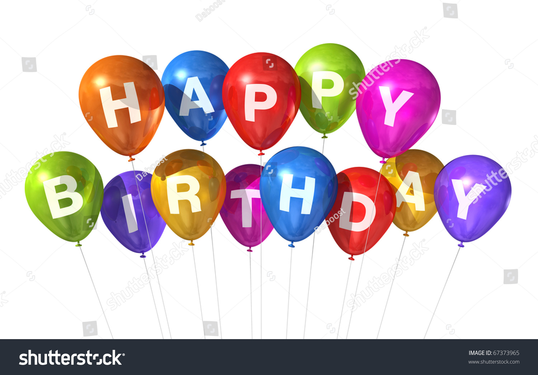 3 d生日快乐气球孤立在白色背景-假期,插图/剪贴图-()图片