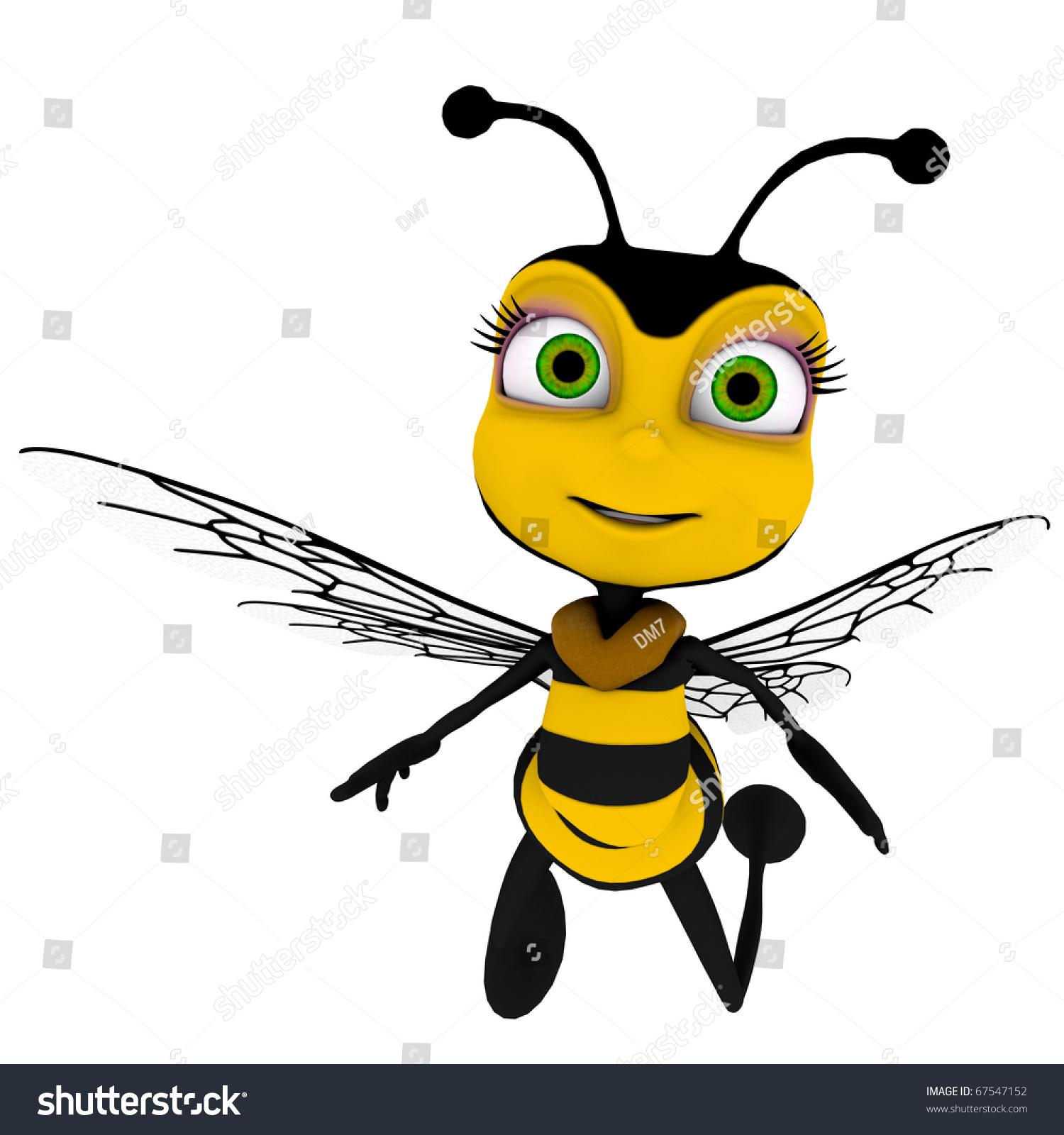 蜜蜂卡通在休闲飞行-动物/野生生物,插图/剪贴图-海洛