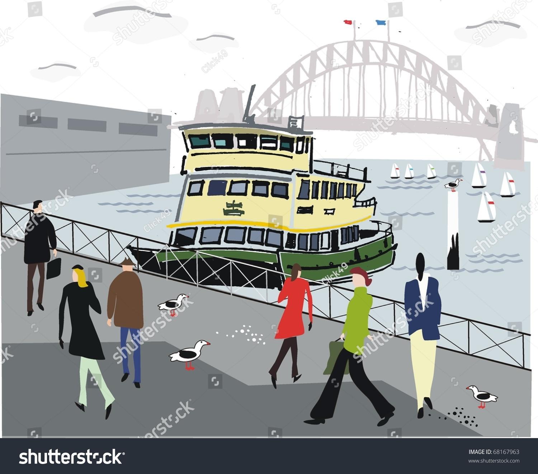 矢量图的渡船,澳大利亚悉尼海港.