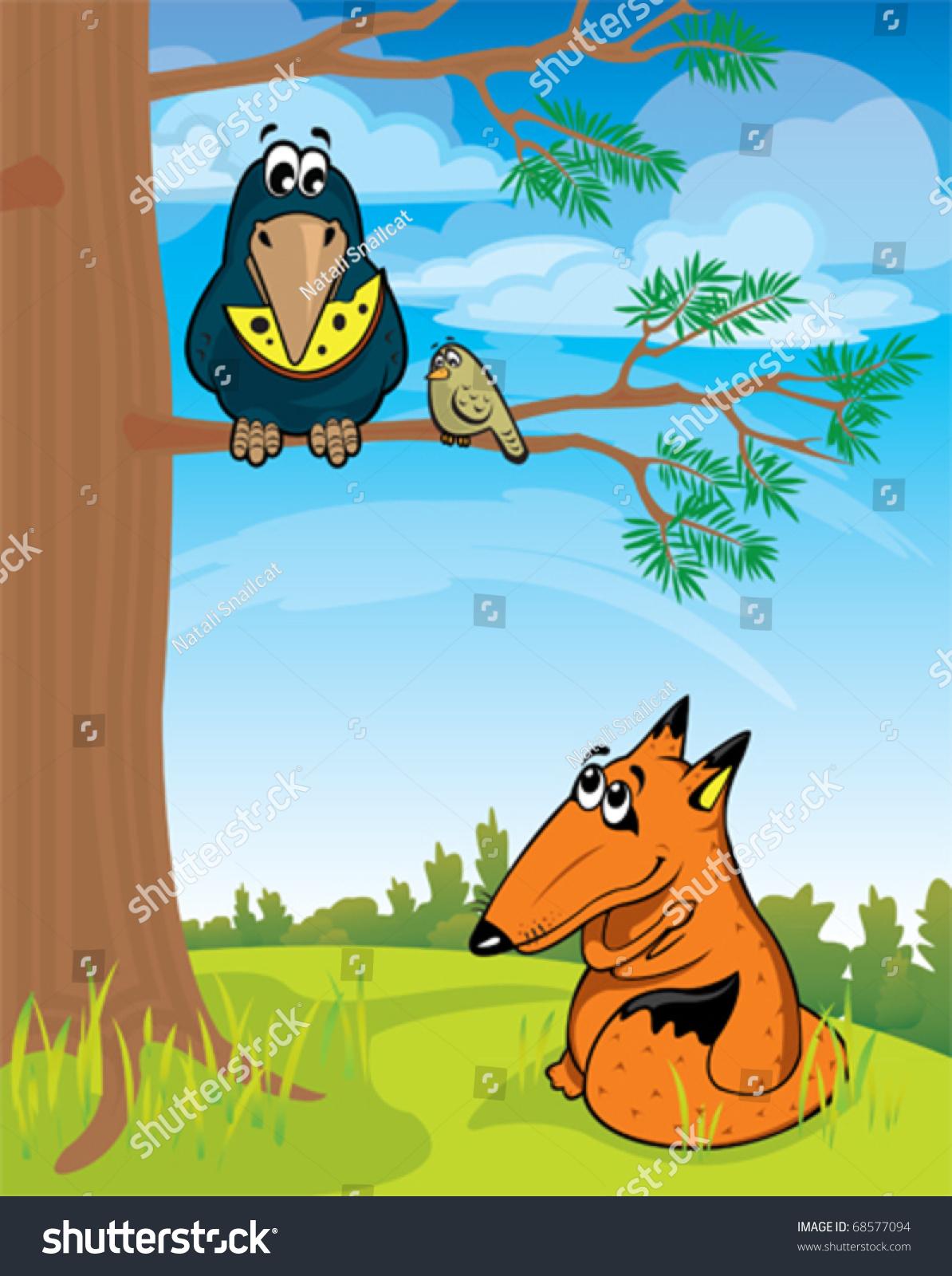 卡通狐狸看着乌鸦和奶酪-动物/野生生物,插图/剪贴图