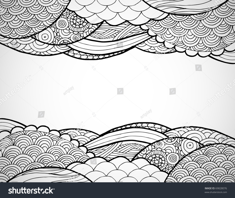 手绘艺术线条框架.-背景/素材,插图/剪贴图-海洛创意