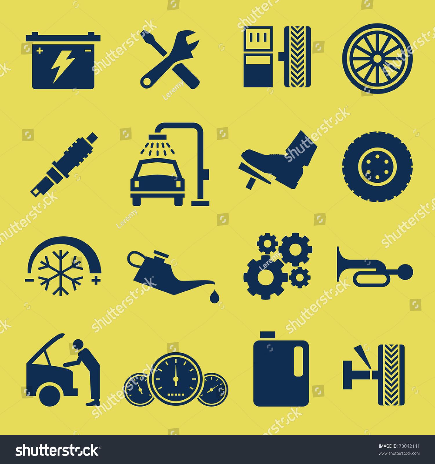汽车汽车维修服务图标符号