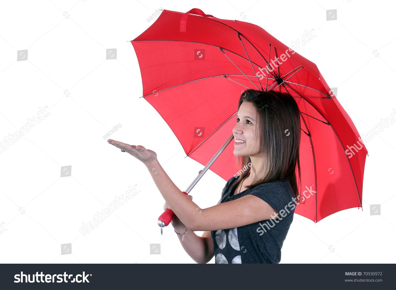 一个漂亮的小女孩拿着一把雨伞-美容/时装服饰,人物