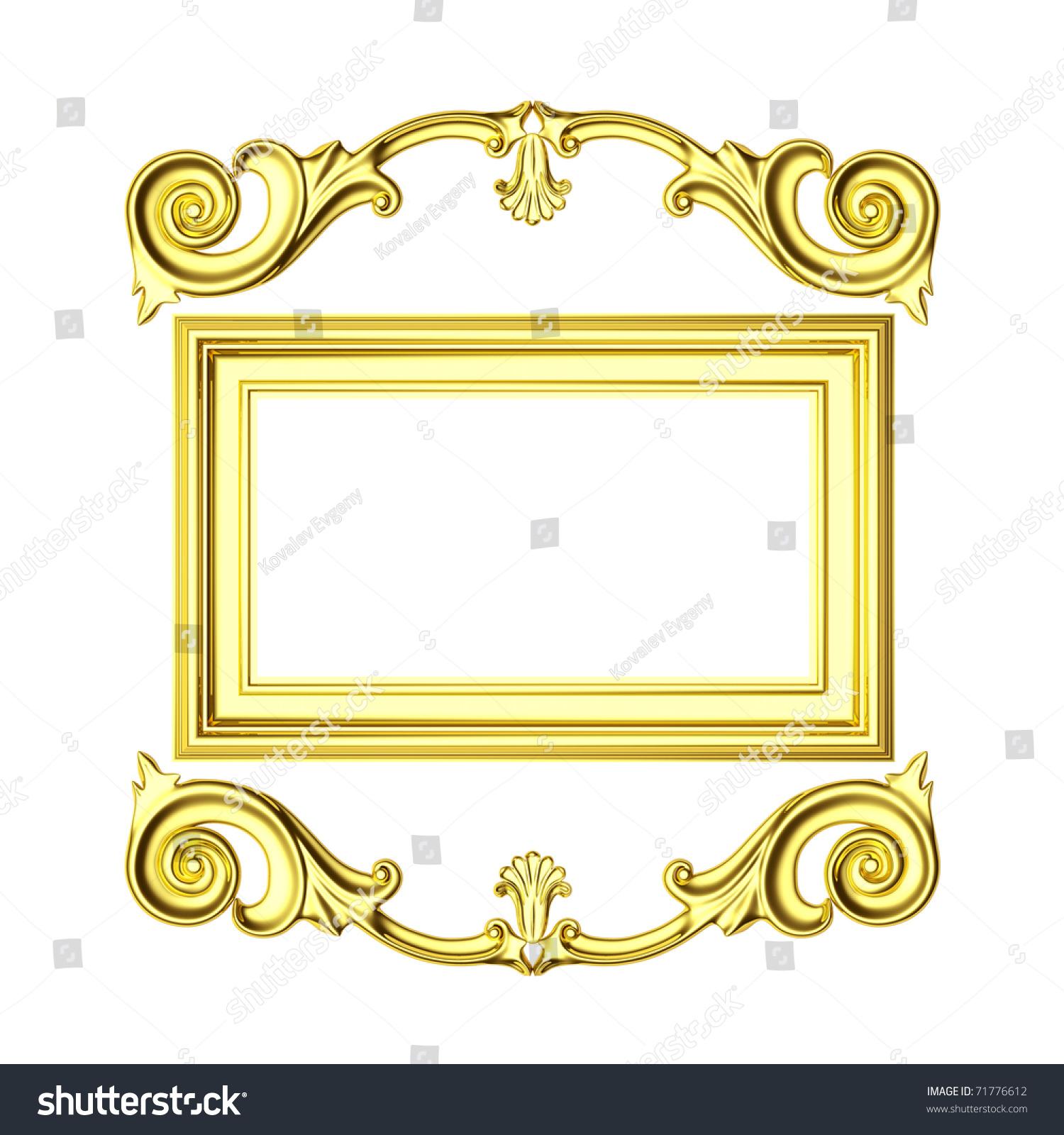 3d金色边框,白色背景上的雕塑形式-编辑