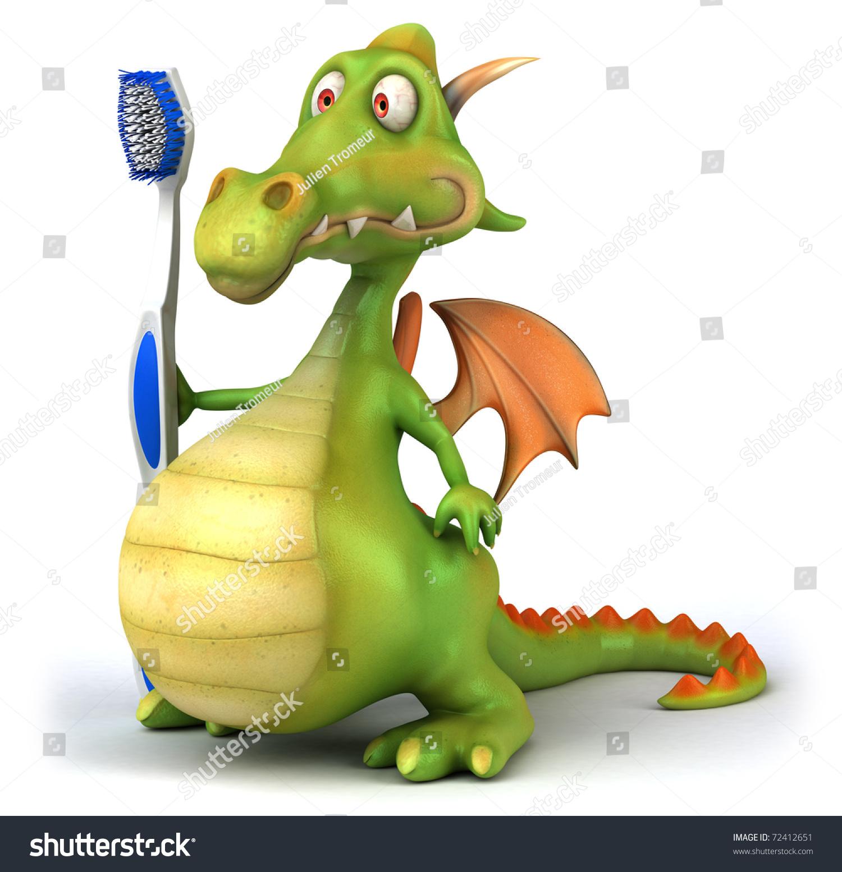 龙与牙刷-动物/野生生物,插图/剪贴图-海洛创意()-合.