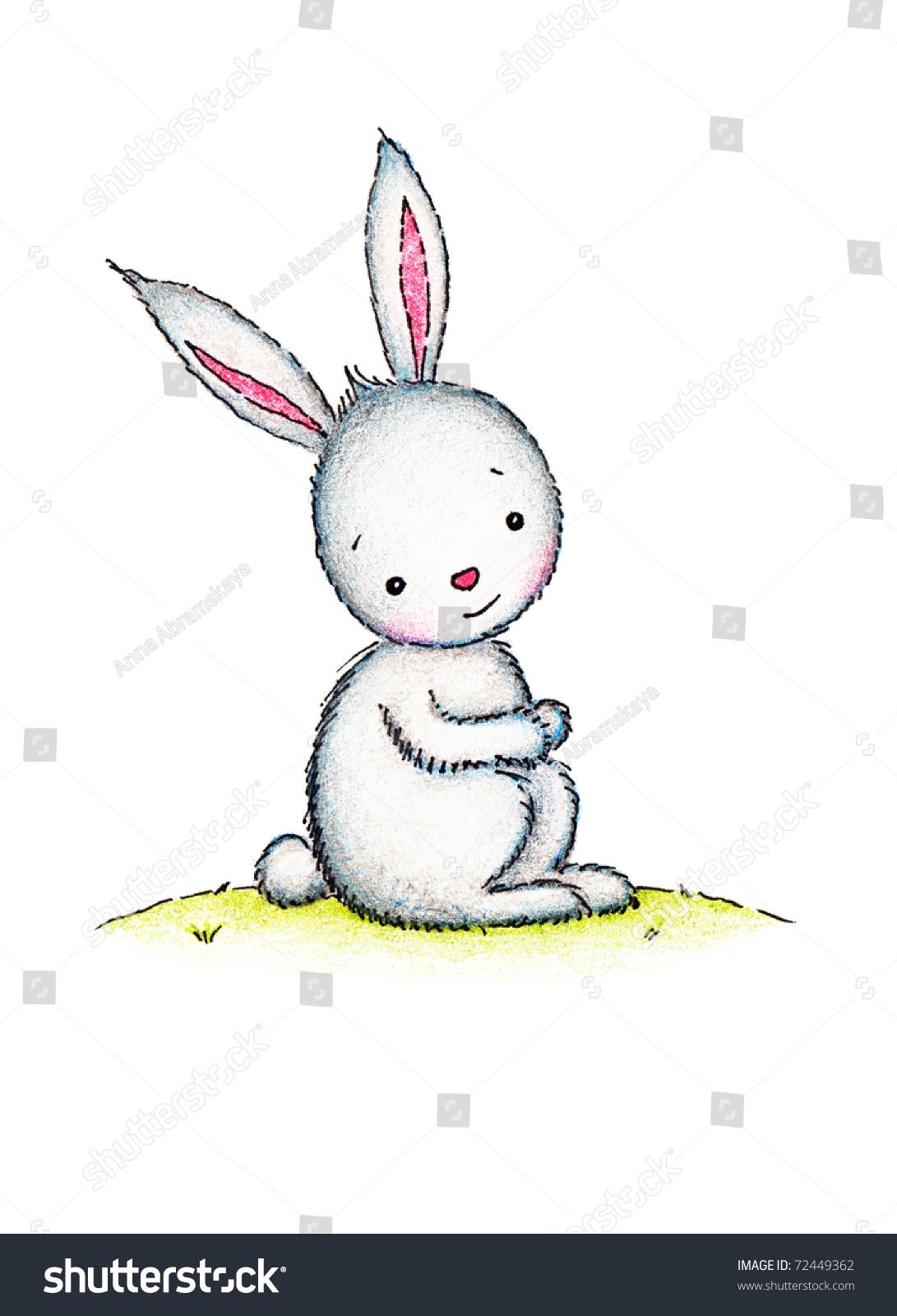 可爱的兔子坐在草坪上-背景/素材