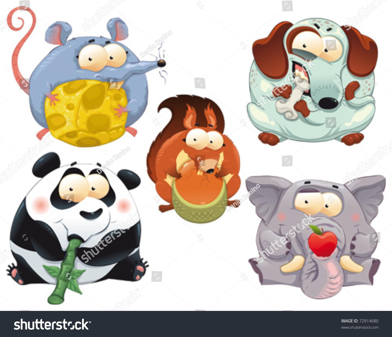 群有趣的动物提供食物.卡通和矢量孤立的角色.-动物