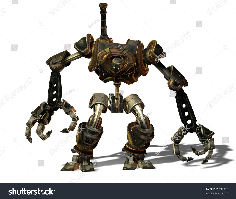 3d渲染的蒸汽朋克机器人从未来-科技,插图/剪贴图-()