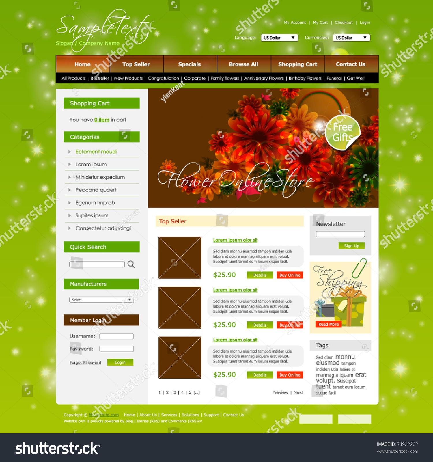 向量购物车网站设计模板