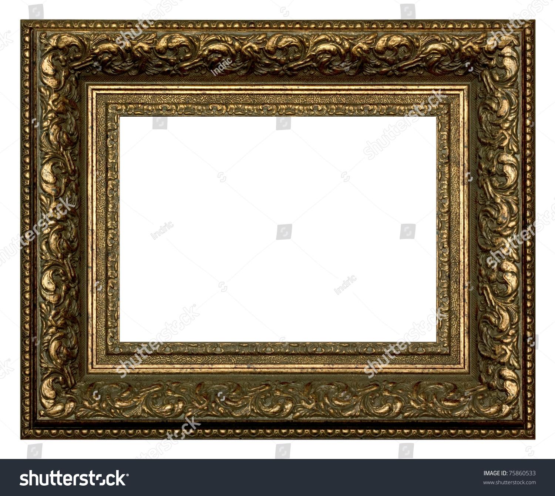 绘画和摄影的青铜框架.孤立在白色背景.