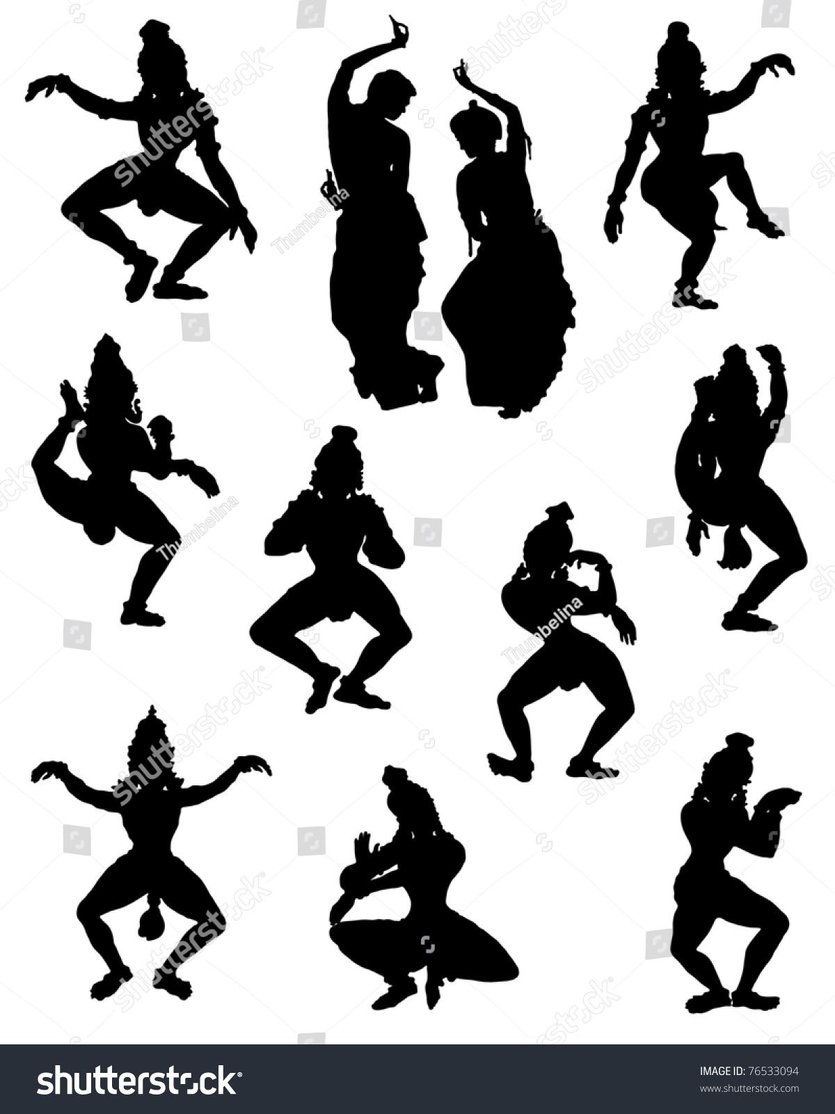 收集在印度舞蹈人物剪影的姿势-人物,插图/剪贴图-()