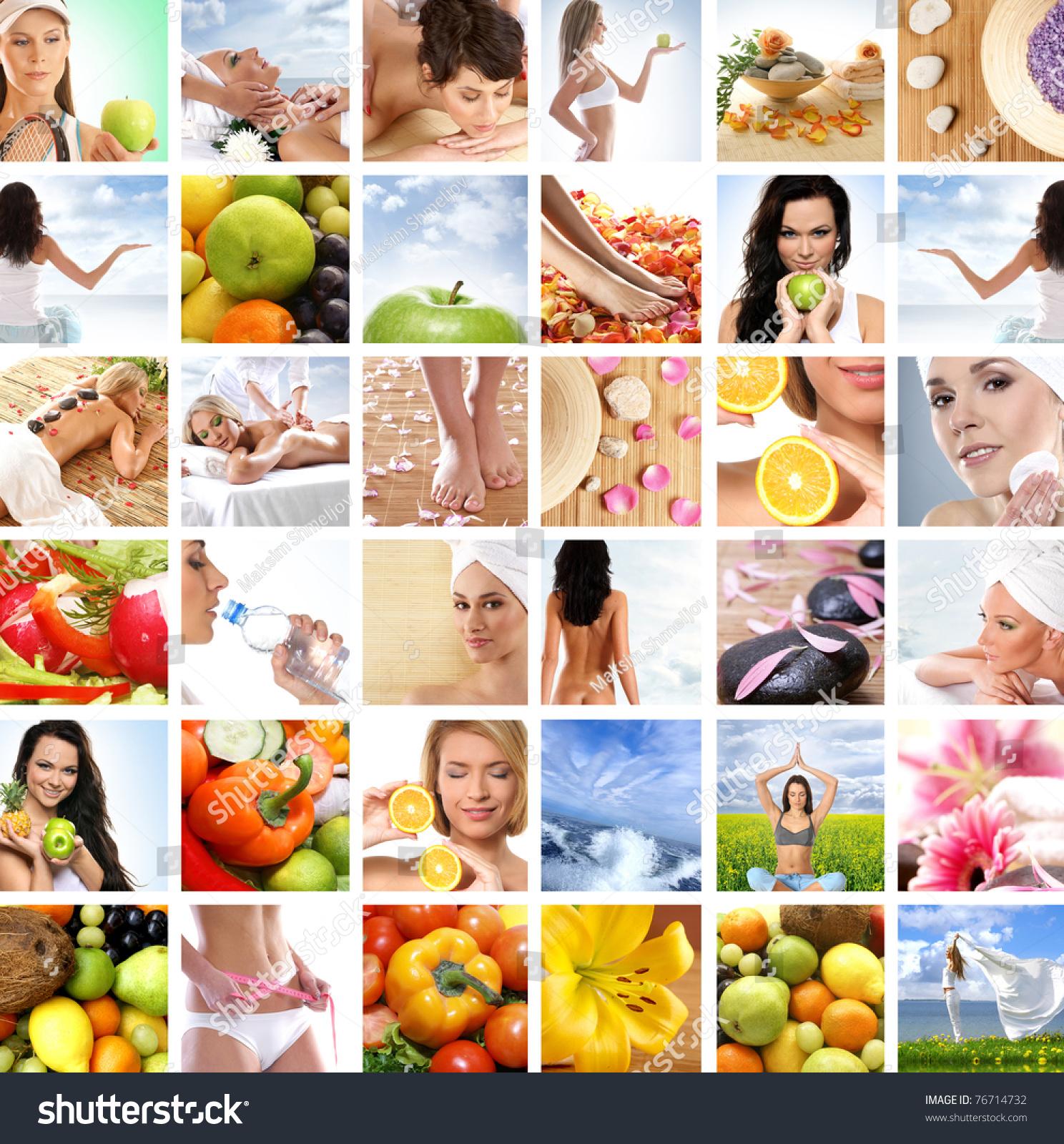 美丽的拼贴画关于健康饮食和医疗-医疗保健,人物-海洛