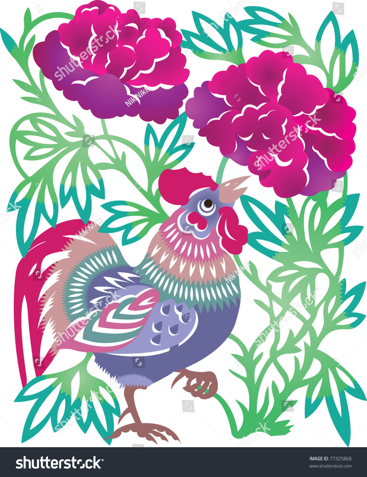 向量.中国传统彩色剪纸.-动物/野生生物