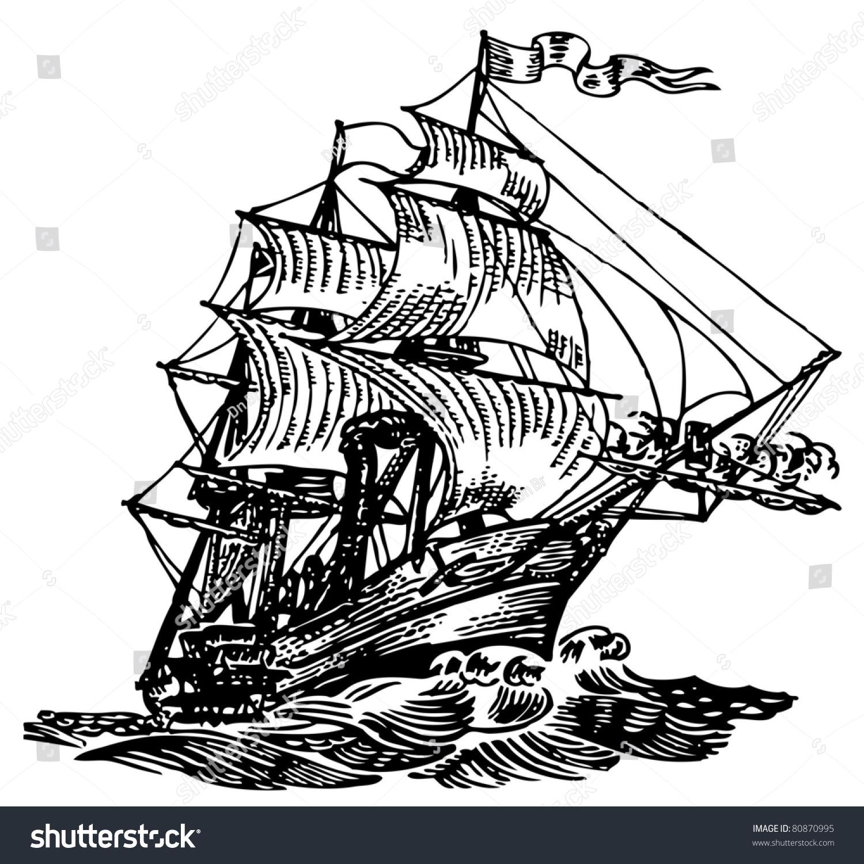 大西洋的船-交通运输,复古风格-海洛创意(hellorf)--.