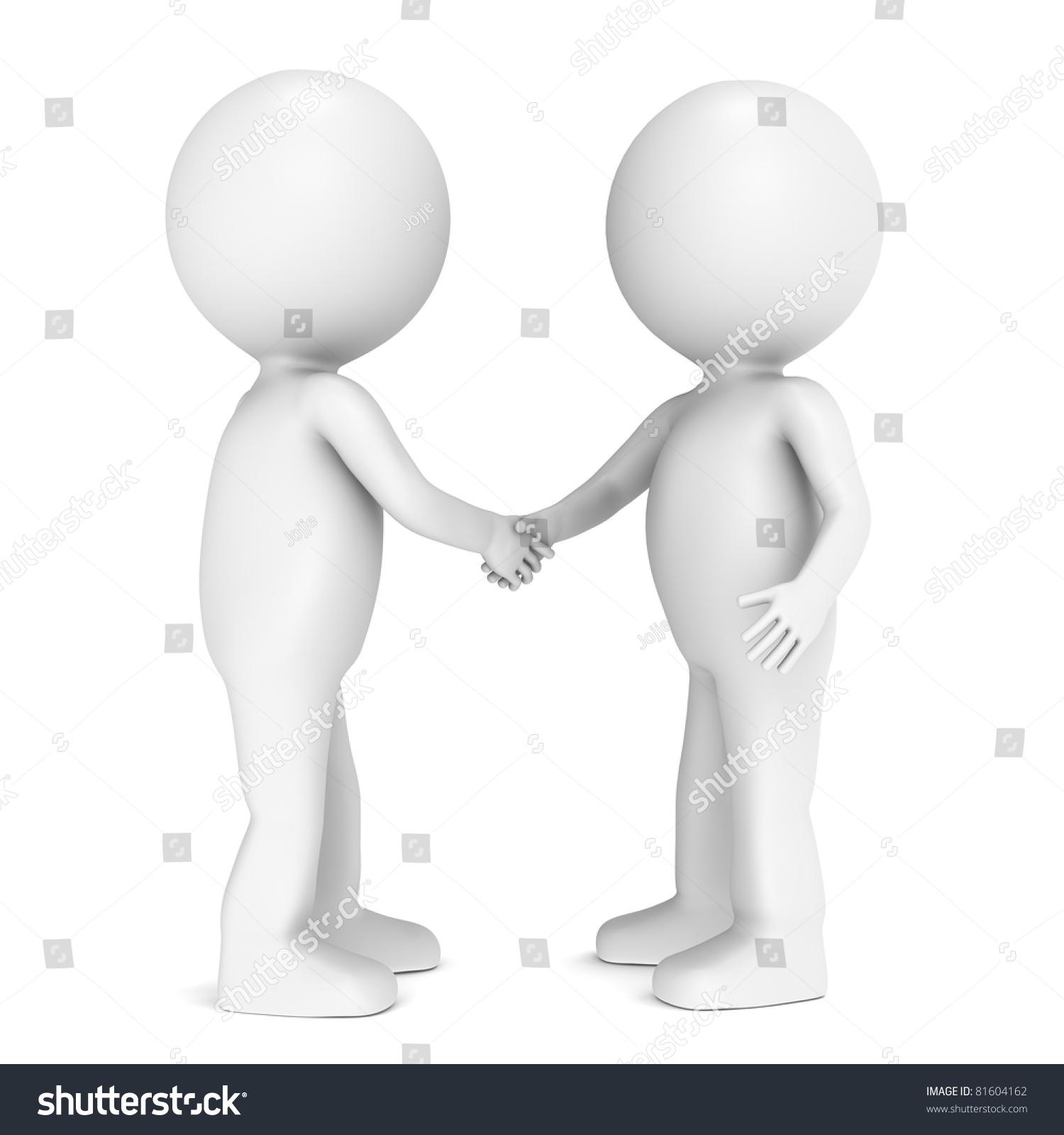 朋友三维小人物握手.-人物,交通运输-海洛创意()-中国