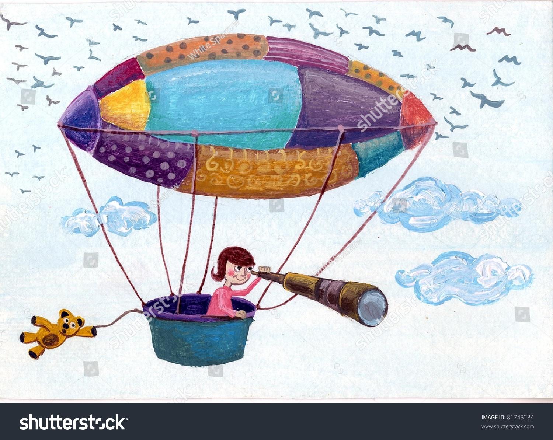 儿童飞行的彩色气球插图-艺术,背景/素材-海洛创意()