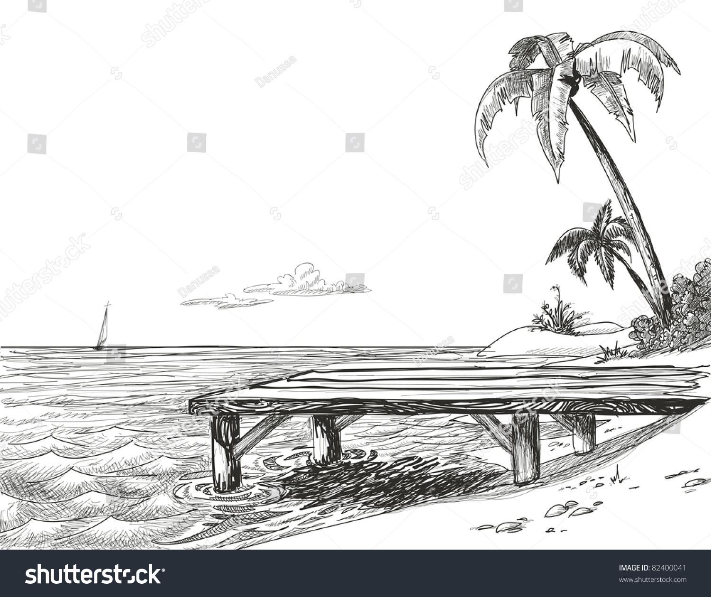 沙滩,大海和木制码头-背景/素材,自然-海洛创意()-合.