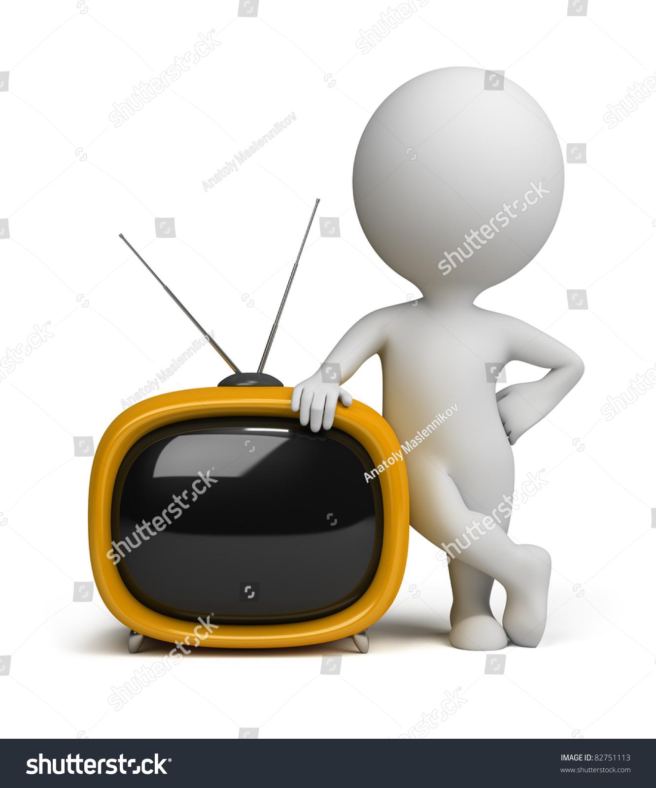 一个黄色的小人物站在旁边的一个黄色的复古电视.三维