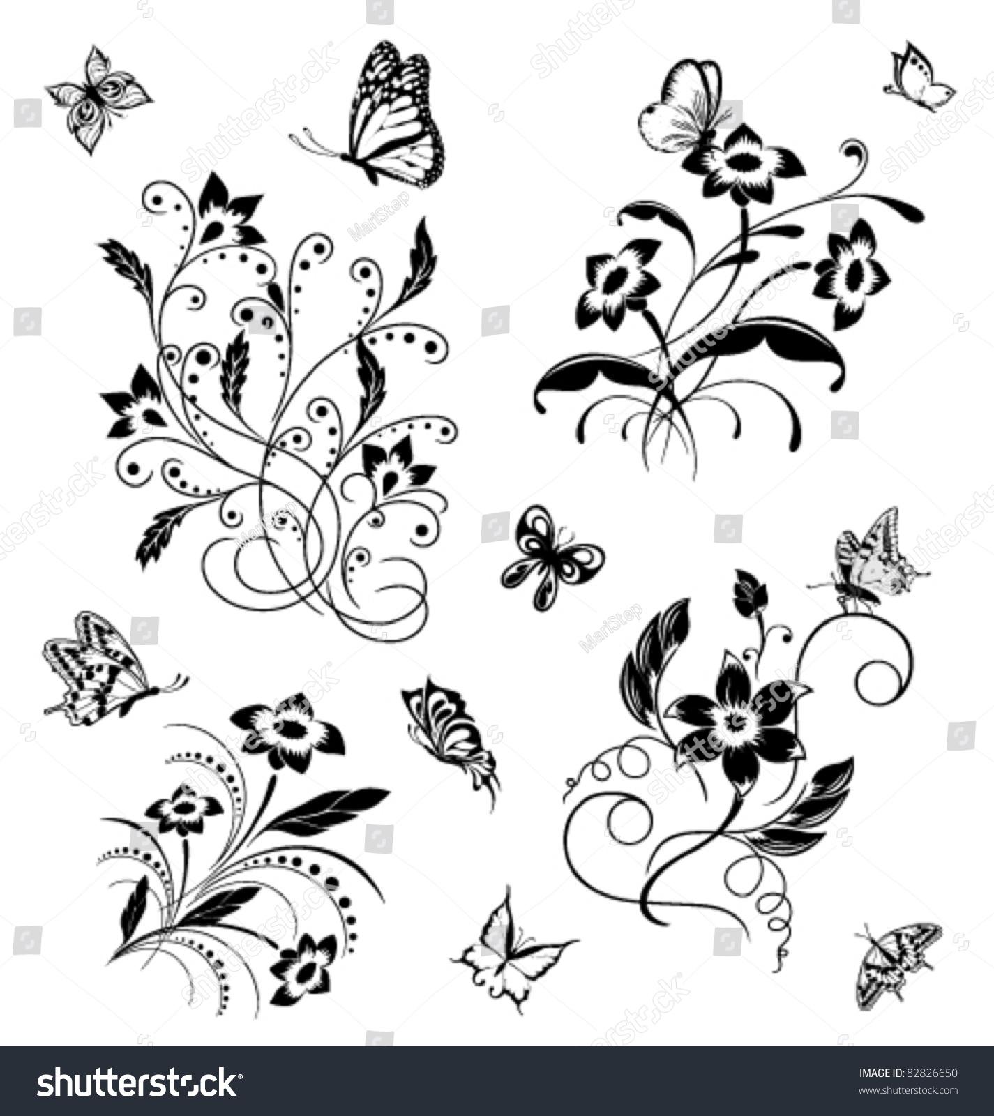 集花与蝴蝶图案-动物/野生生物,自然-海洛创意()-中国