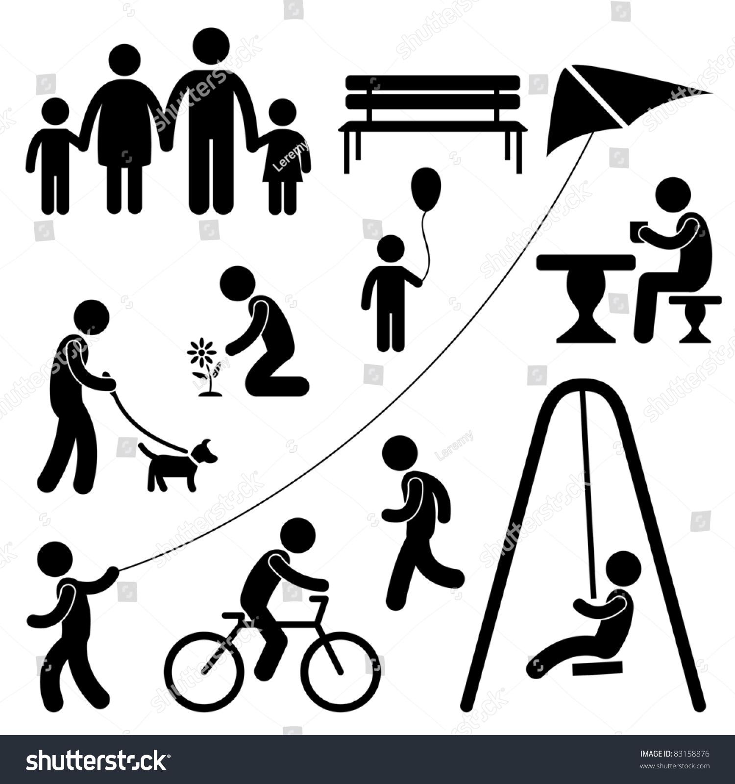 人家庭的孩子人花园公园活动标志符号象形图图标
