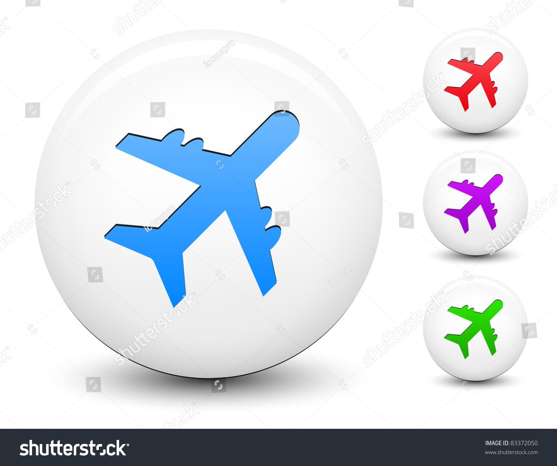 飞机图标的圆形按钮收集原始插图-物体,符号/标志-()