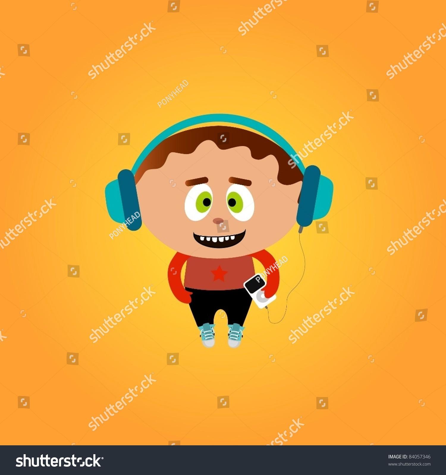 有趣的小男孩听音乐-人物,物体-海洛创意(hellorf)--.