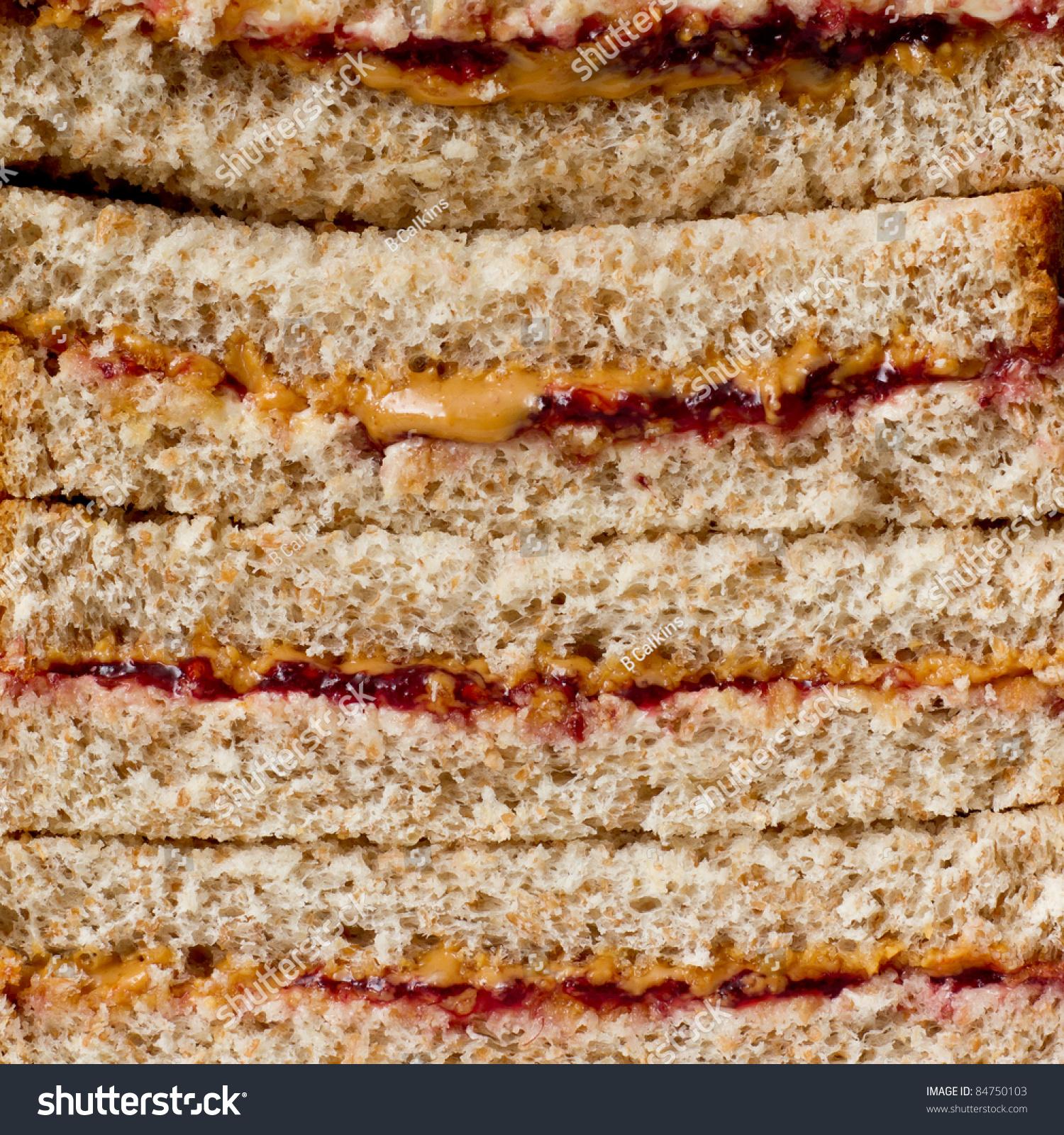 花生酱和果酱三明治