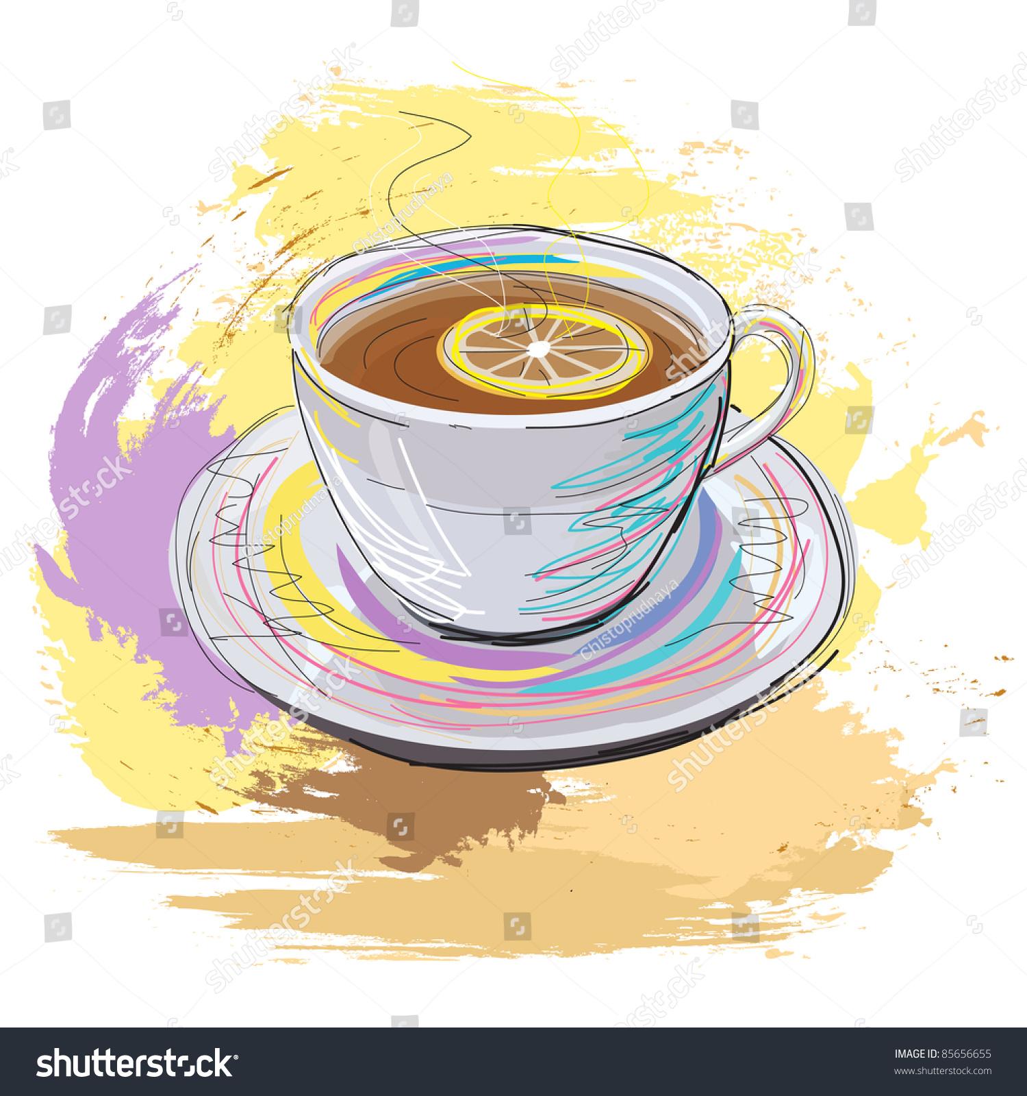 彩色手绘插图的一杯香柠檬红茶