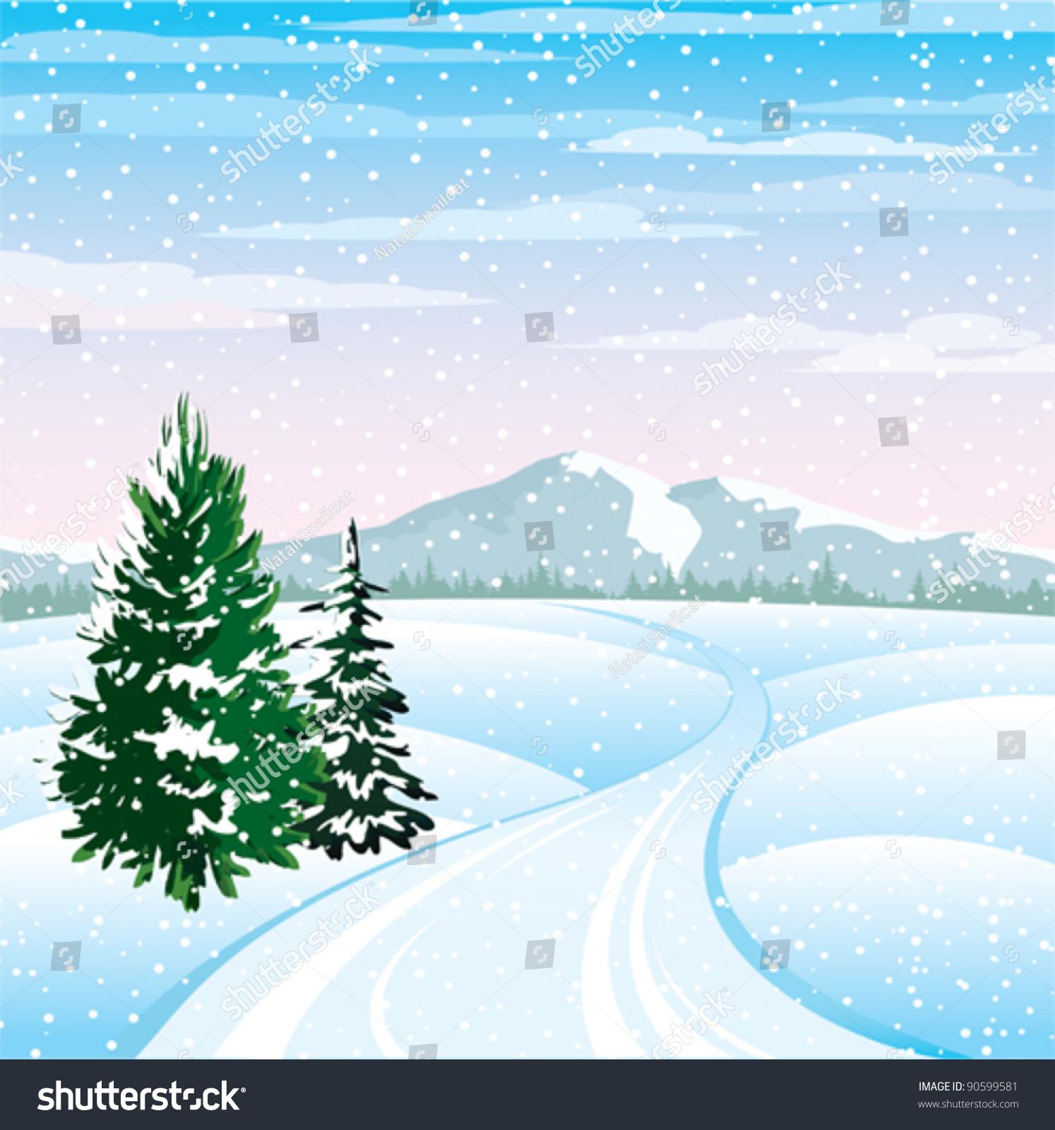 一个多云的天空中的树木和道路的冬季矢量景观-公园