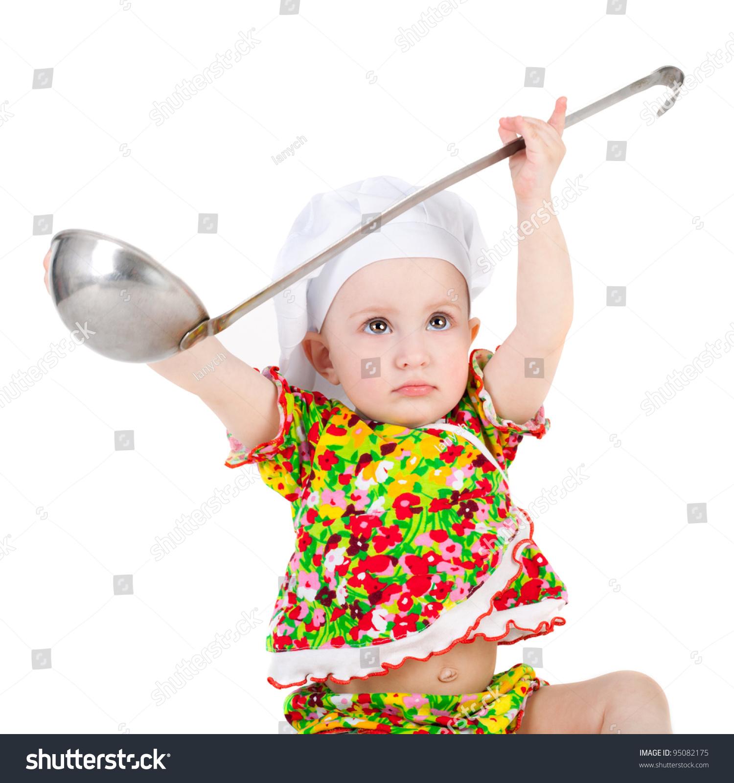可爱的小宝宝在厨师帽和大勺子-人物