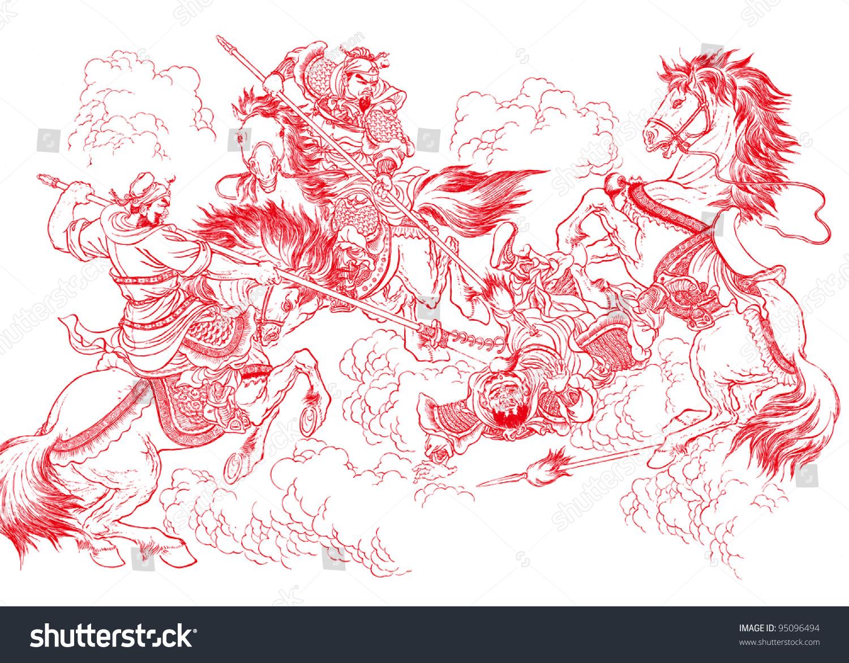 中国剪纸——武术战斗-艺术,人物-海洛创意(hellorf)图片
