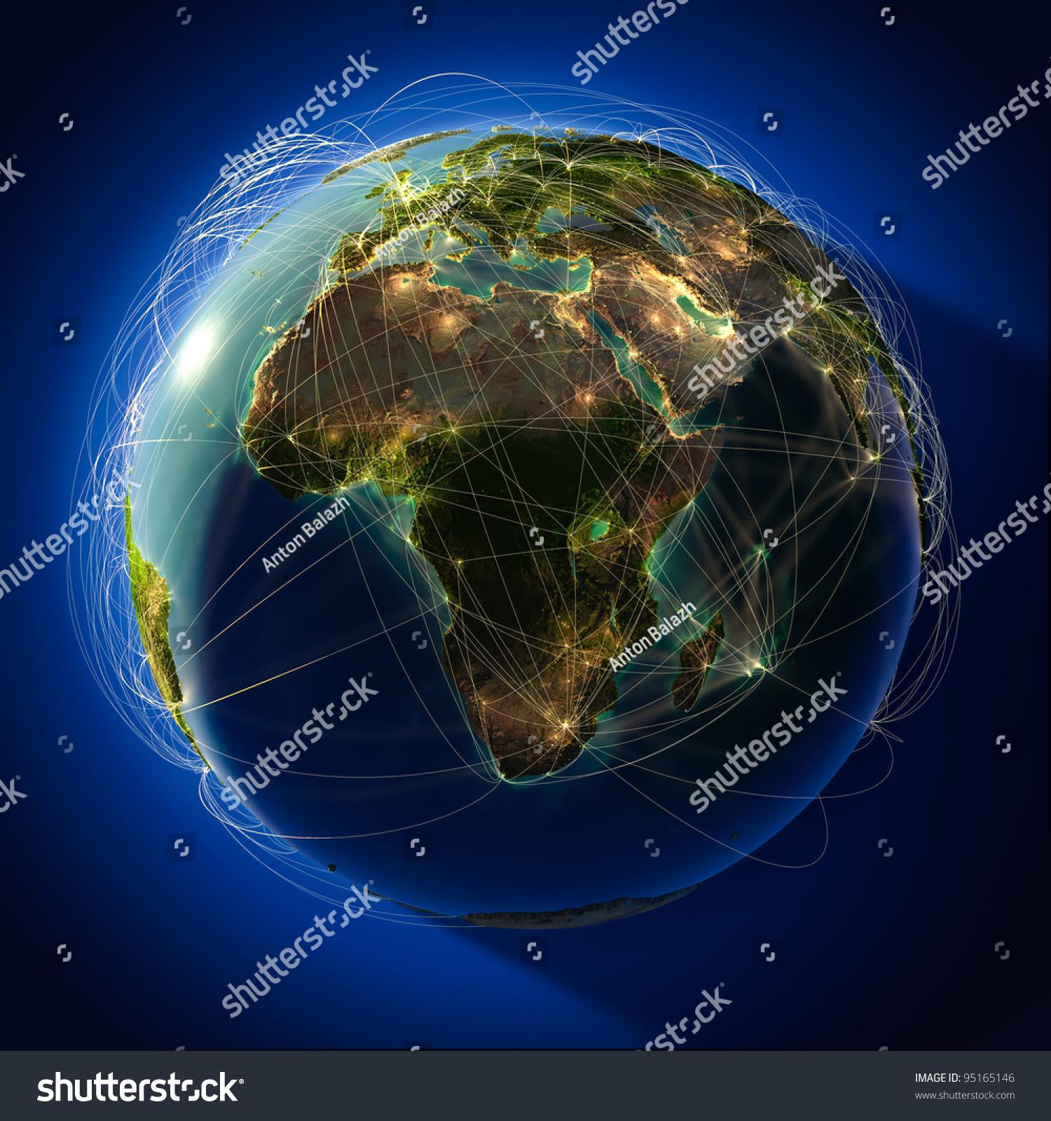 高度详细的地球夜晚,压花大洲,照射的光的城市.地球被